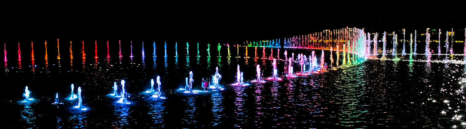 Communicating in color - rainbow water feature