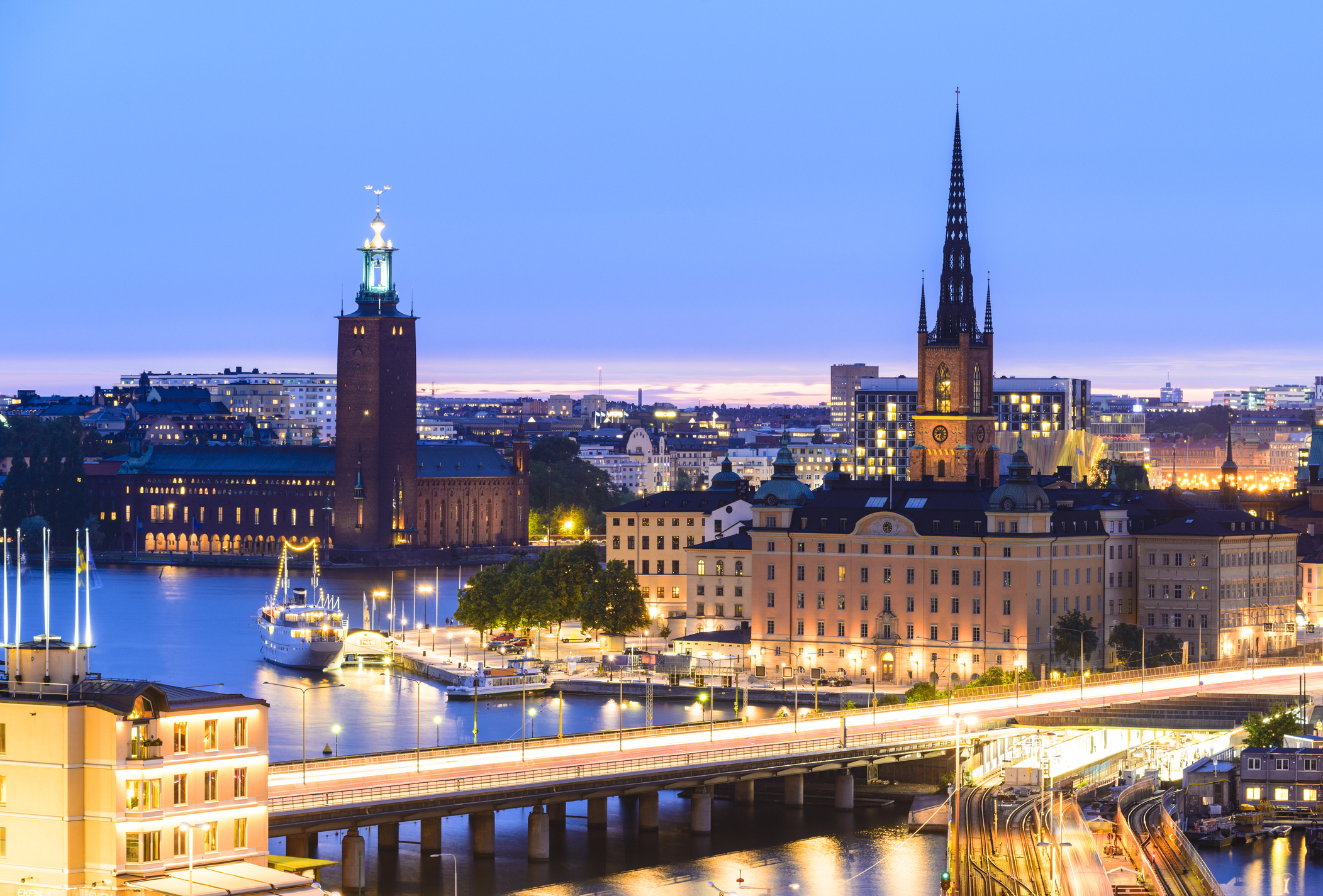 Riddarholmen and Gamla Stan Skyline in Stockholm at Twilight, Sweden