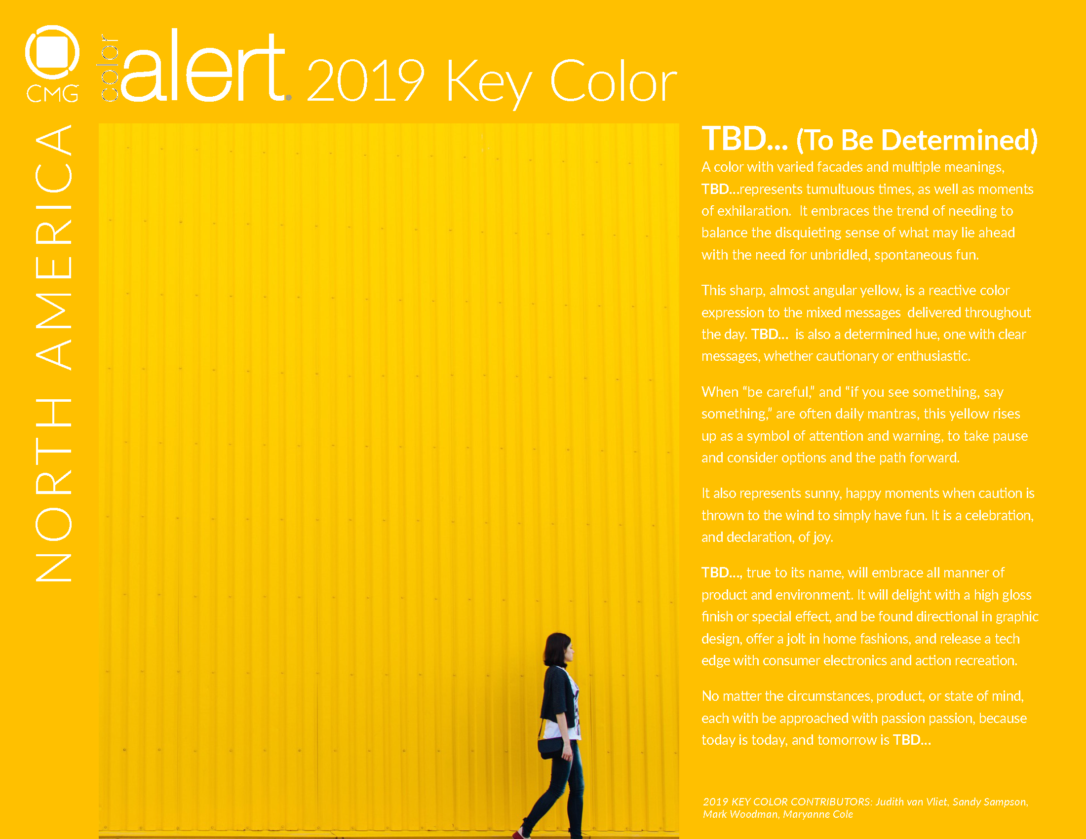 CMG 2019 KEY COLOR TBD... (TO BE DETERMINED)